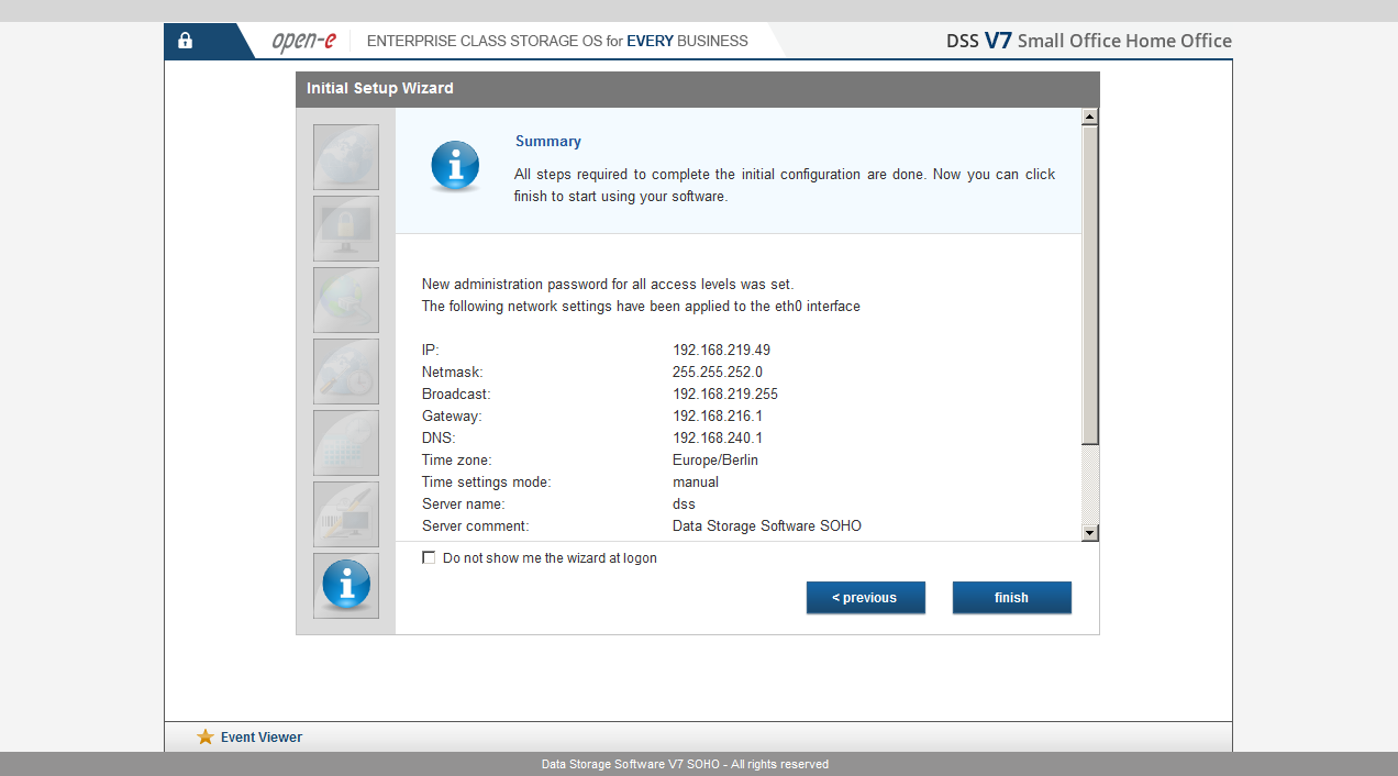 DSS V7 SOHO - Installation wizard 1/4